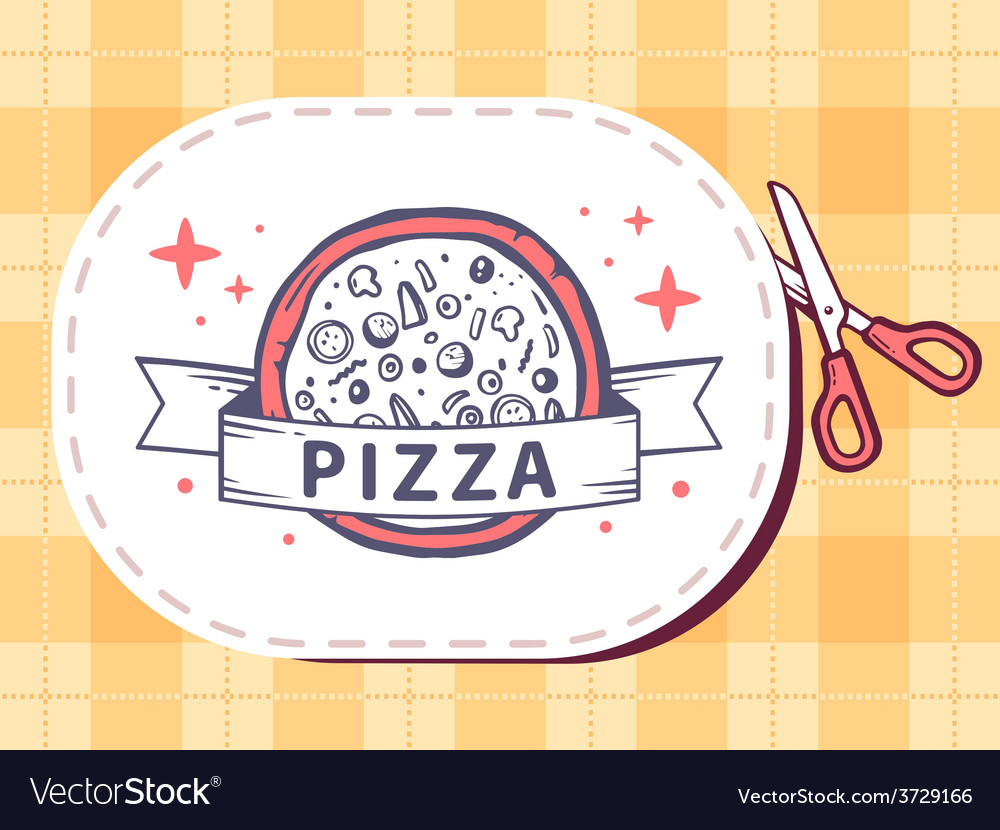 Scissors cutting sticker with icon of piz vector | Price: 1 Credit (USD $1)