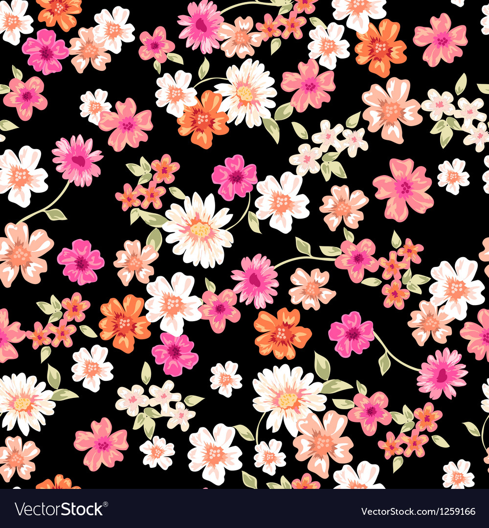 Sweet daisy seamless background vector | Price: 1 Credit (USD $1)