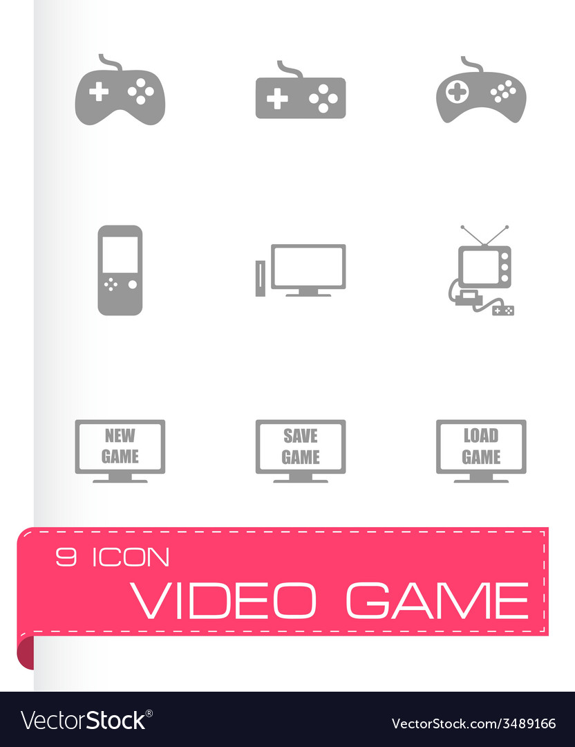 Video game icon set vector   Price: 1 Credit (USD $1)