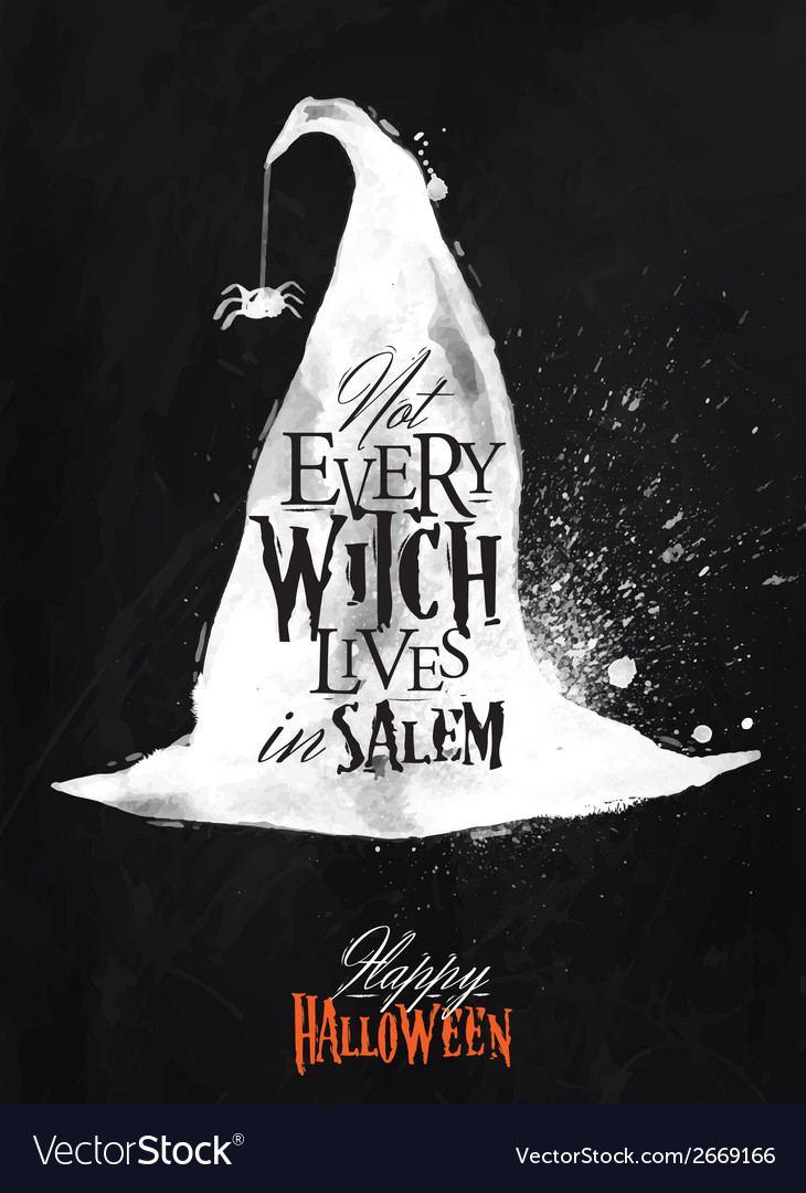Witch hat halloween poster chalk vector | Price: 1 Credit (USD $1)