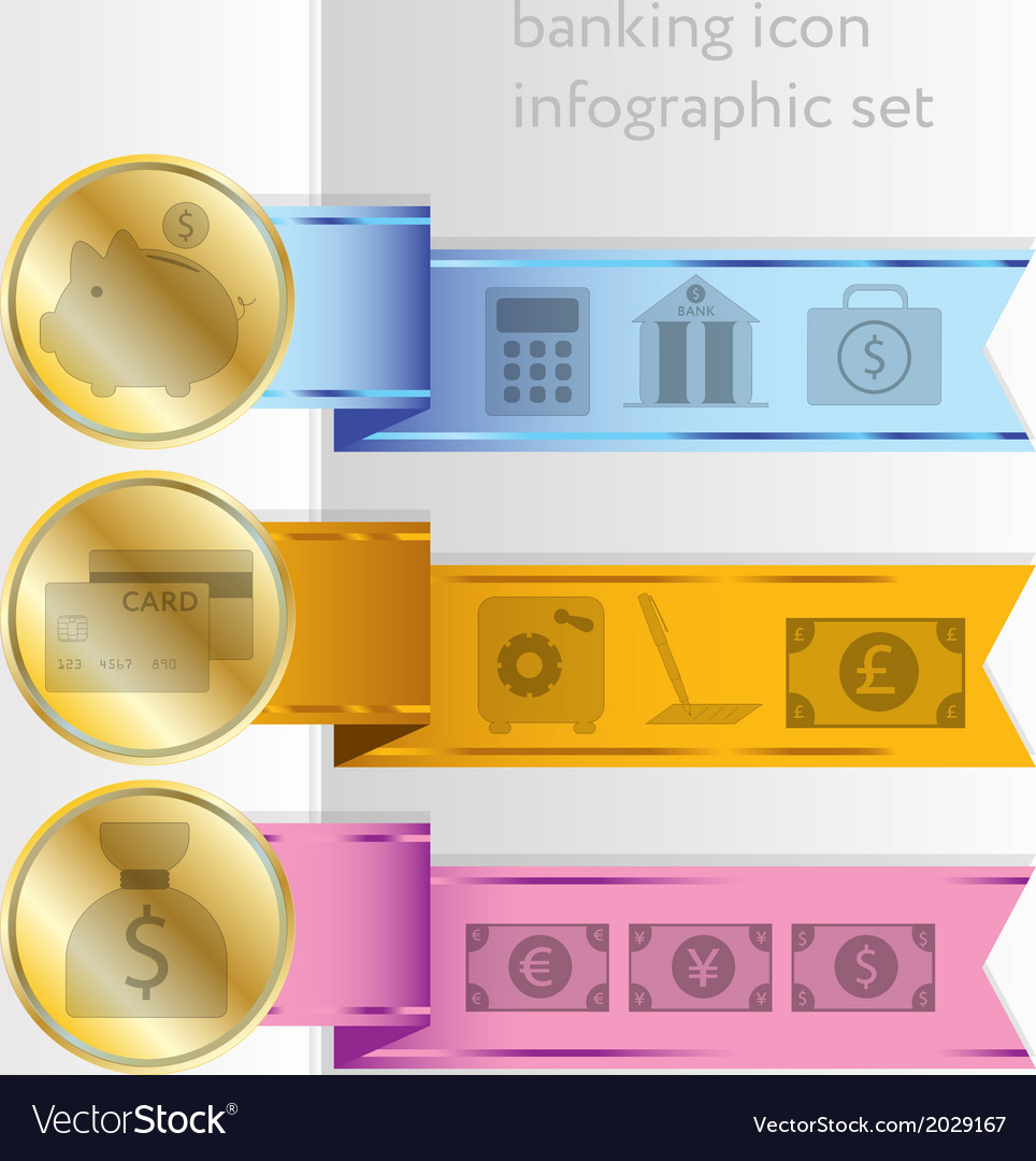 Banking icons colored infographic ribbons vector | Price: 1 Credit (USD $1)