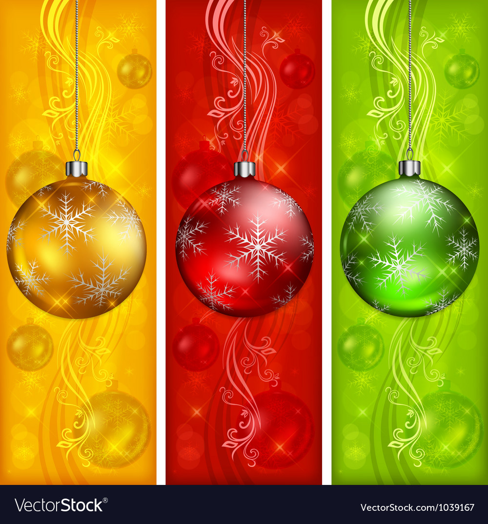 Christmas banners ornament color background 10 v vector | Price: 1 Credit (USD $1)