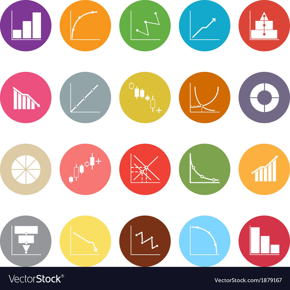 Diagram and graph flat icons on white background vector | Price: 1 Credit (USD $1)