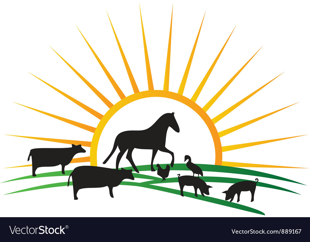 Farm animal silhouettes vector | Price: 1 Credit (USD $1)
