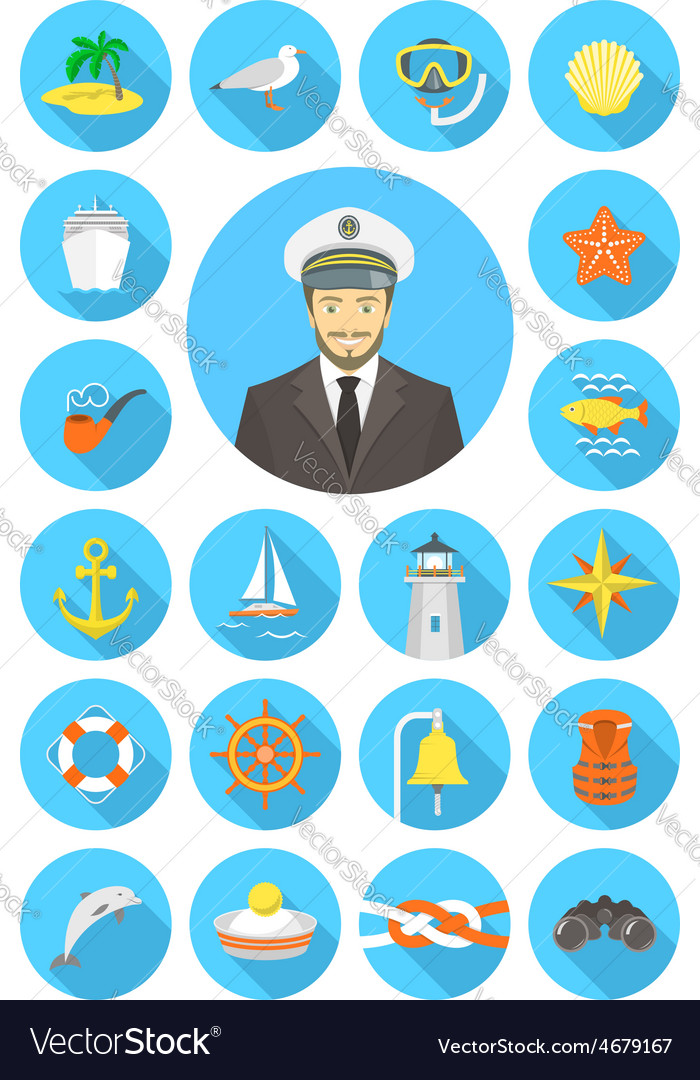 Flat nautical icons with young attractive captain vector