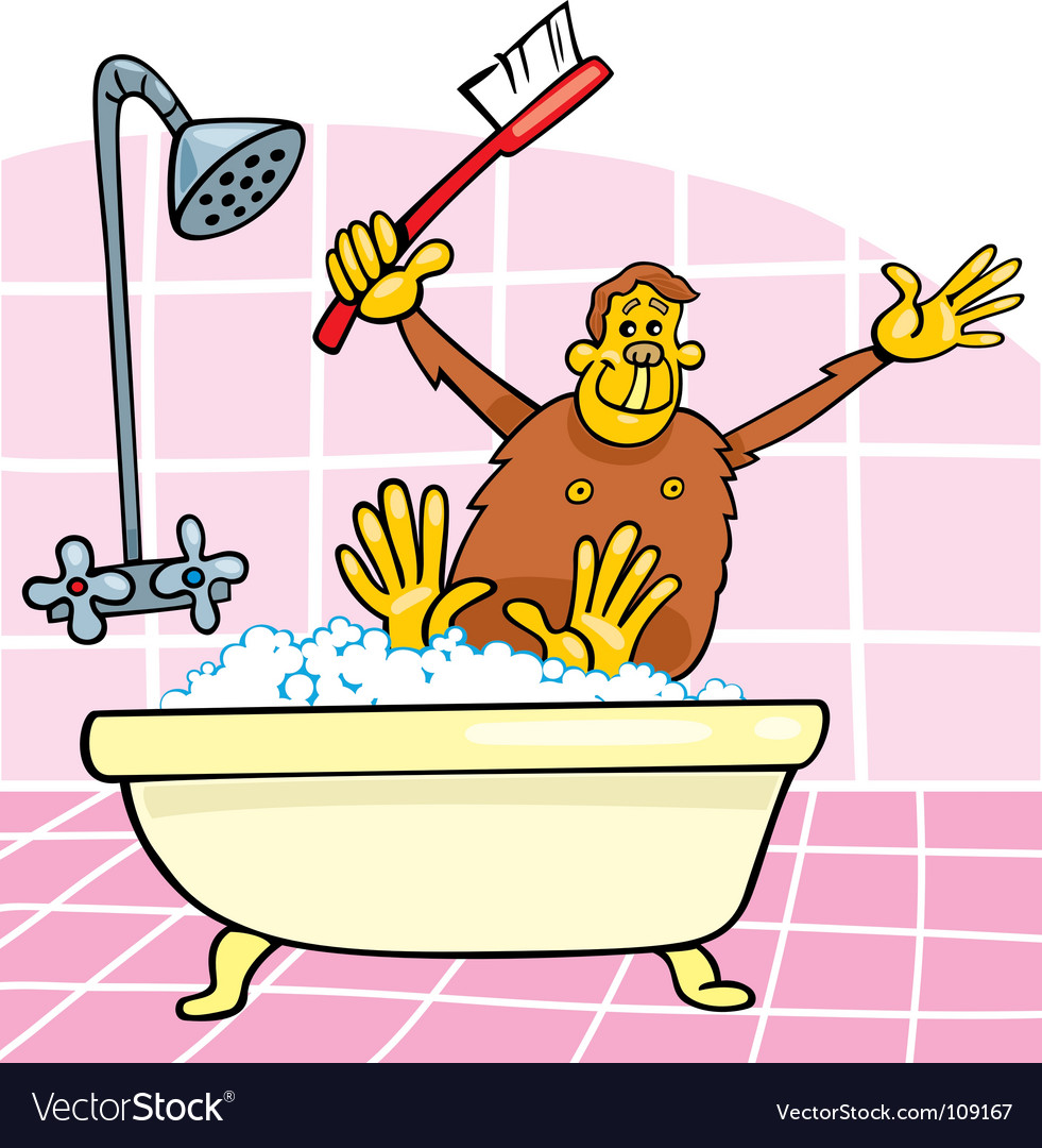 Monkey in bath vector | Price: 1 Credit (USD $1)