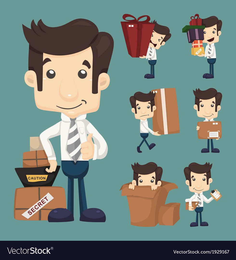 Set of businessman moving office and packing in bo vector | Price: 1 Credit (USD $1)