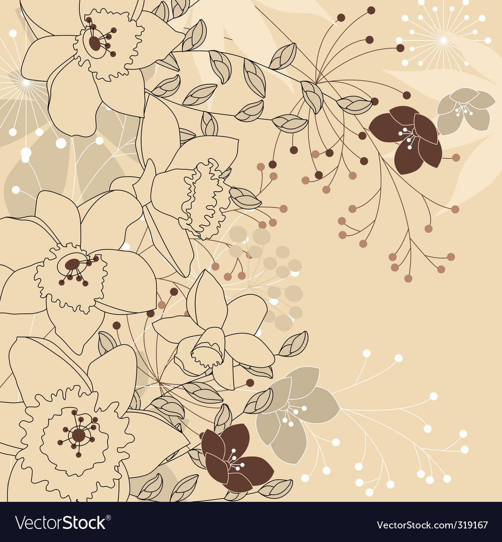 Stylish floral light beige background vector | Price: 1 Credit (USD $1)