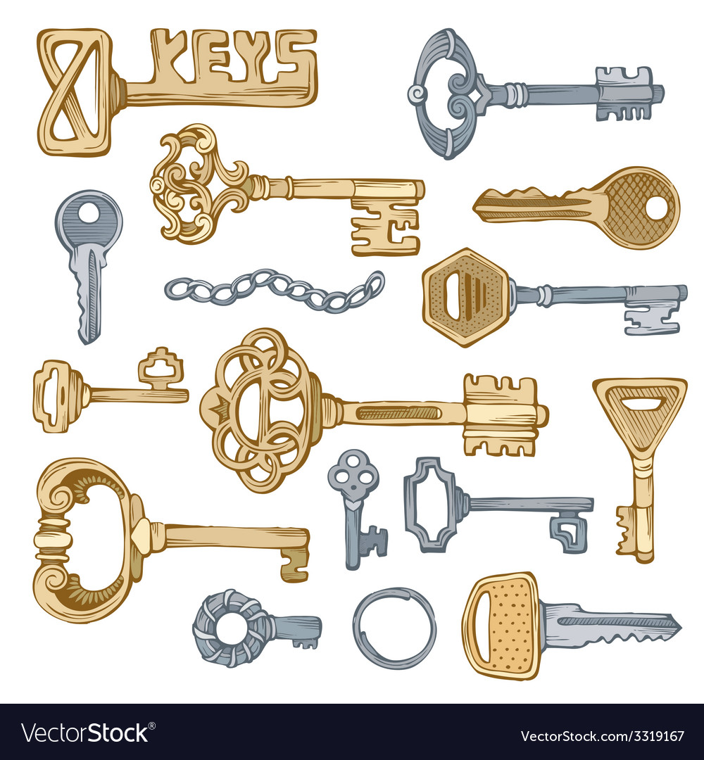 Vintage keys vector | Price: 1 Credit (USD $1)