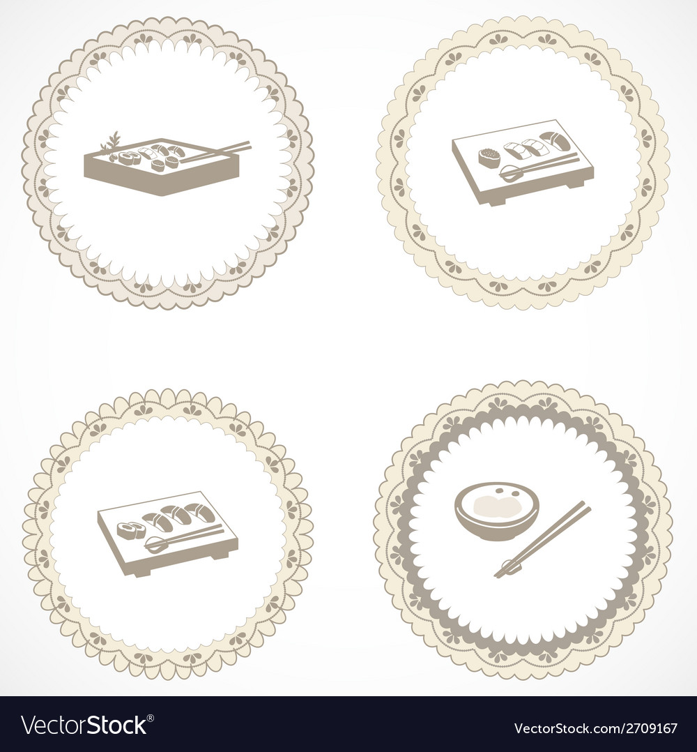 Vintage labels with icons vector | Price: 1 Credit (USD $1)