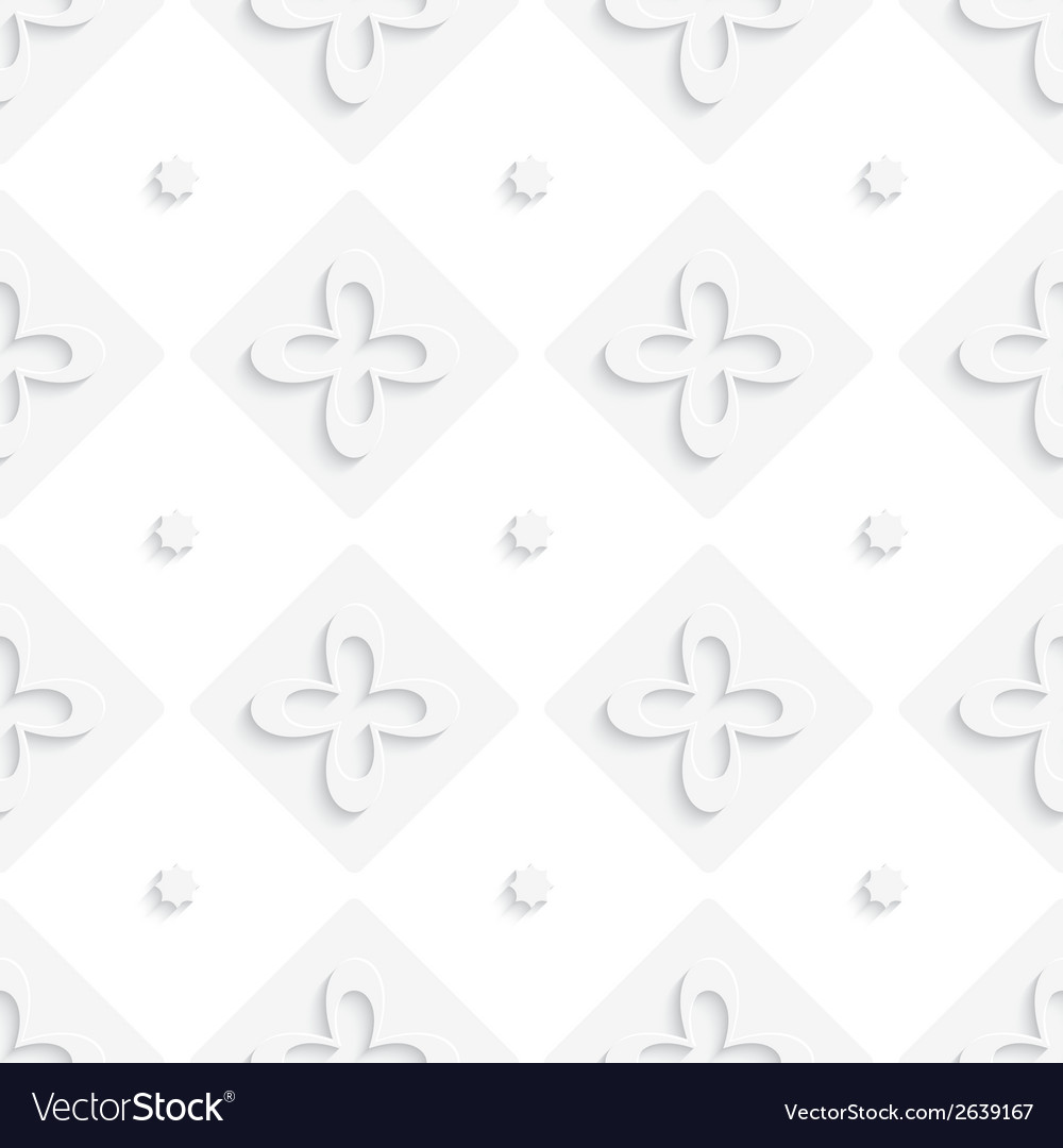 White squares and flowers pattern vector | Price: 1 Credit (USD $1)