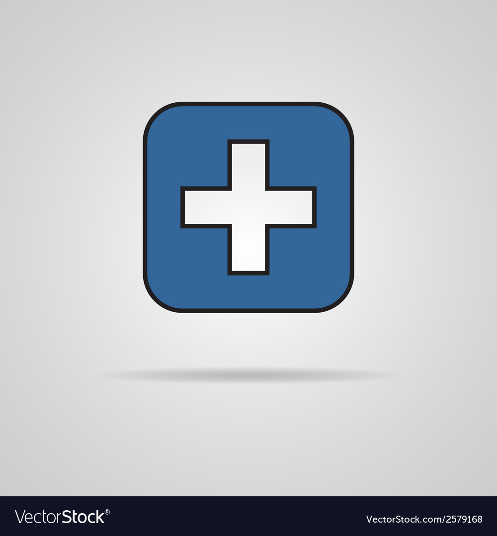 Blue cross icon with shadow eps10 vector | Price: 1 Credit (USD $1)