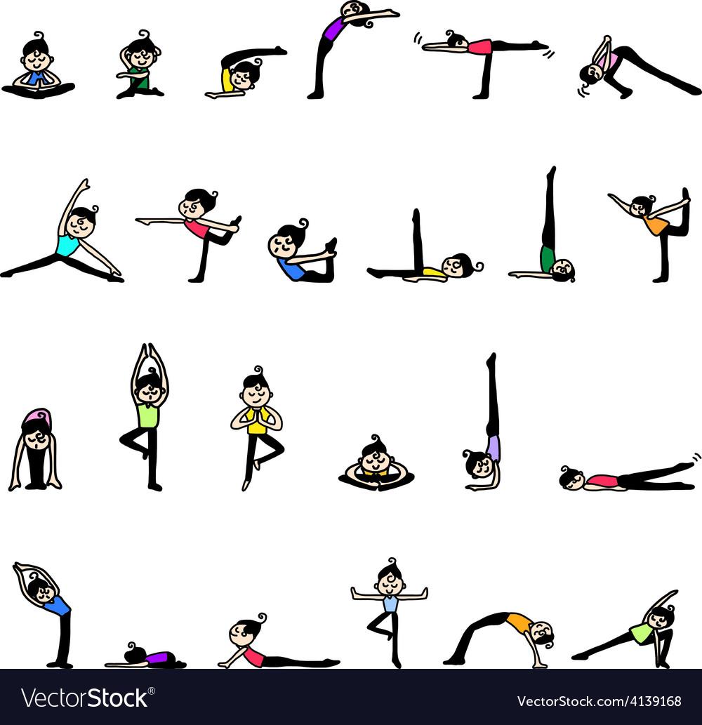 Cartoon character woman practicing yoga vector   Price: 1 Credit (USD $1)