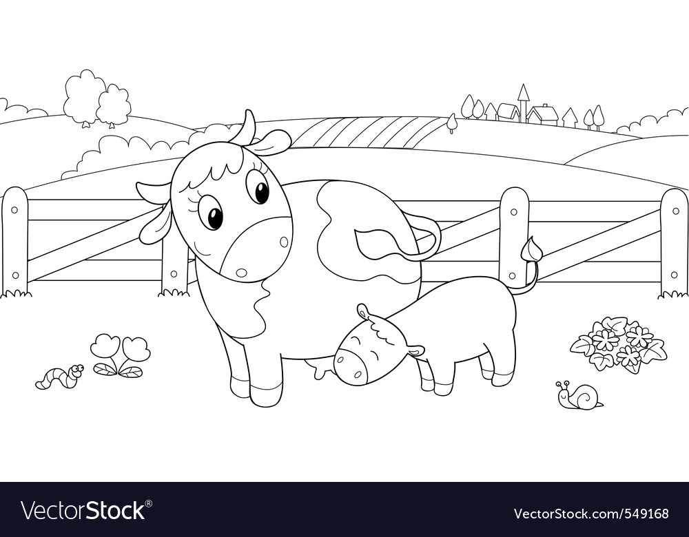 Cute cow feeding calf vector | Price: 1 Credit (USD $1)