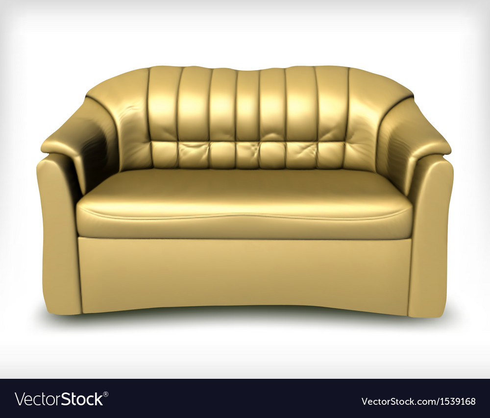 Golden leather sofa vector | Price: 1 Credit (USD $1)