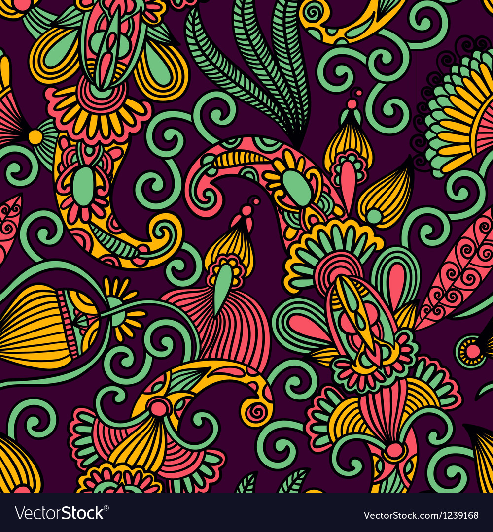 Hand draw ornate floral seamless pattern vector | Price: 1 Credit (USD $1)