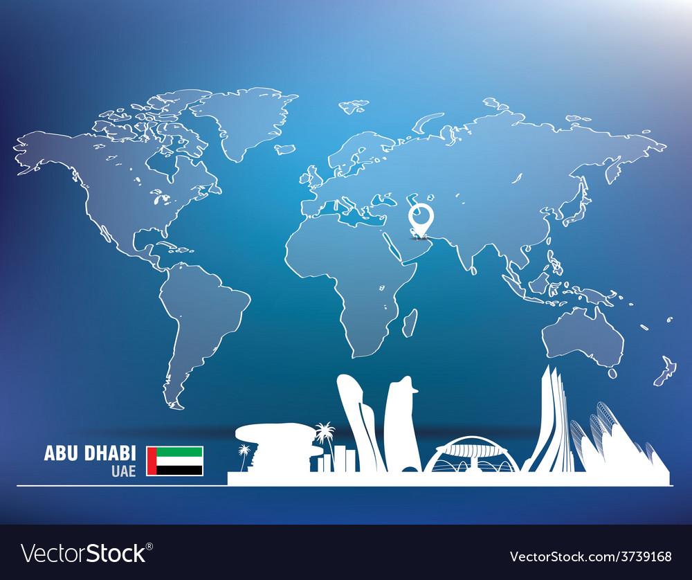 Map pin with abu dhabi skyline vector | Price: 1 Credit (USD $1)