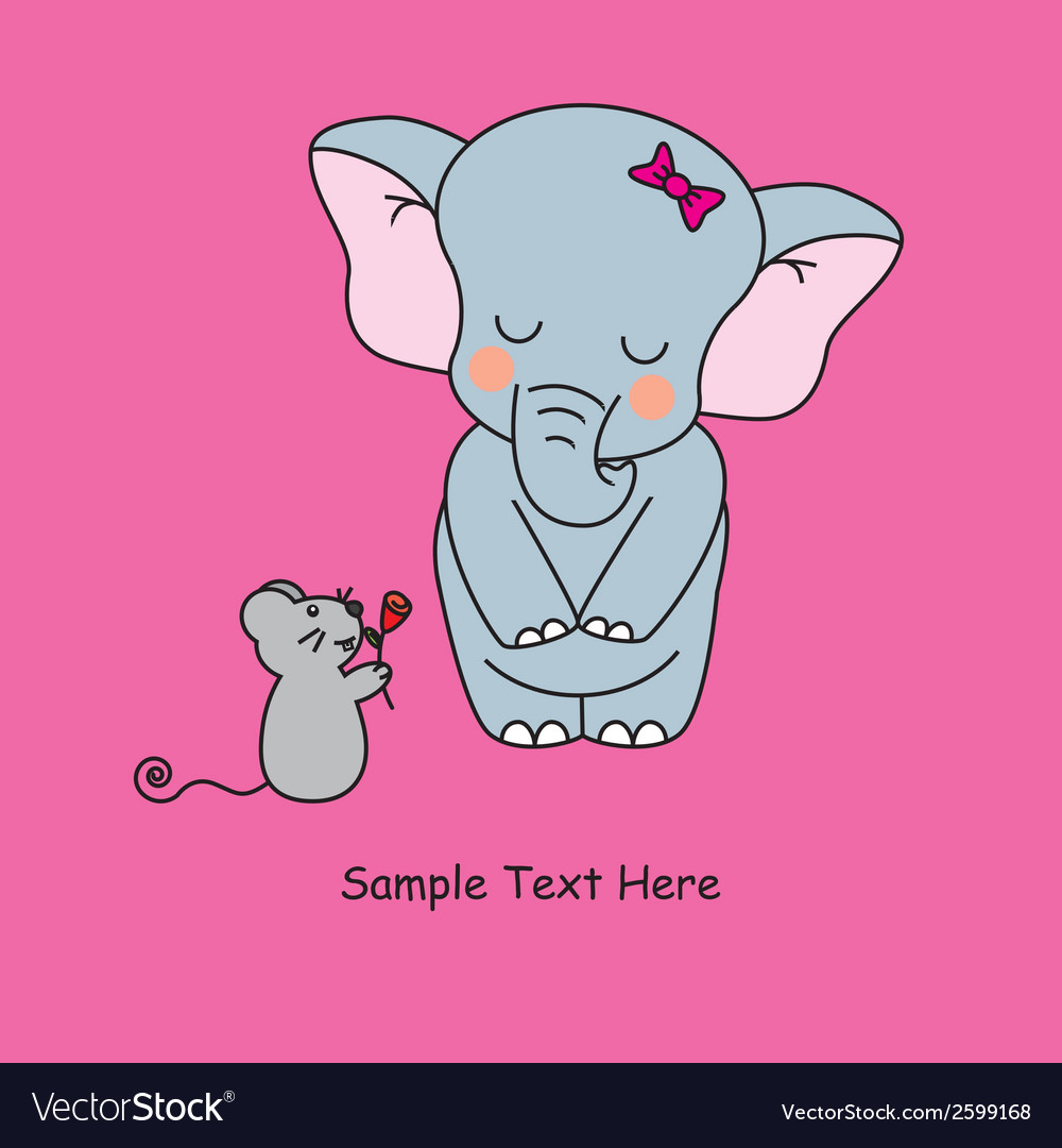 Mouse gives a flower to an elephant vector | Price: 1 Credit (USD $1)