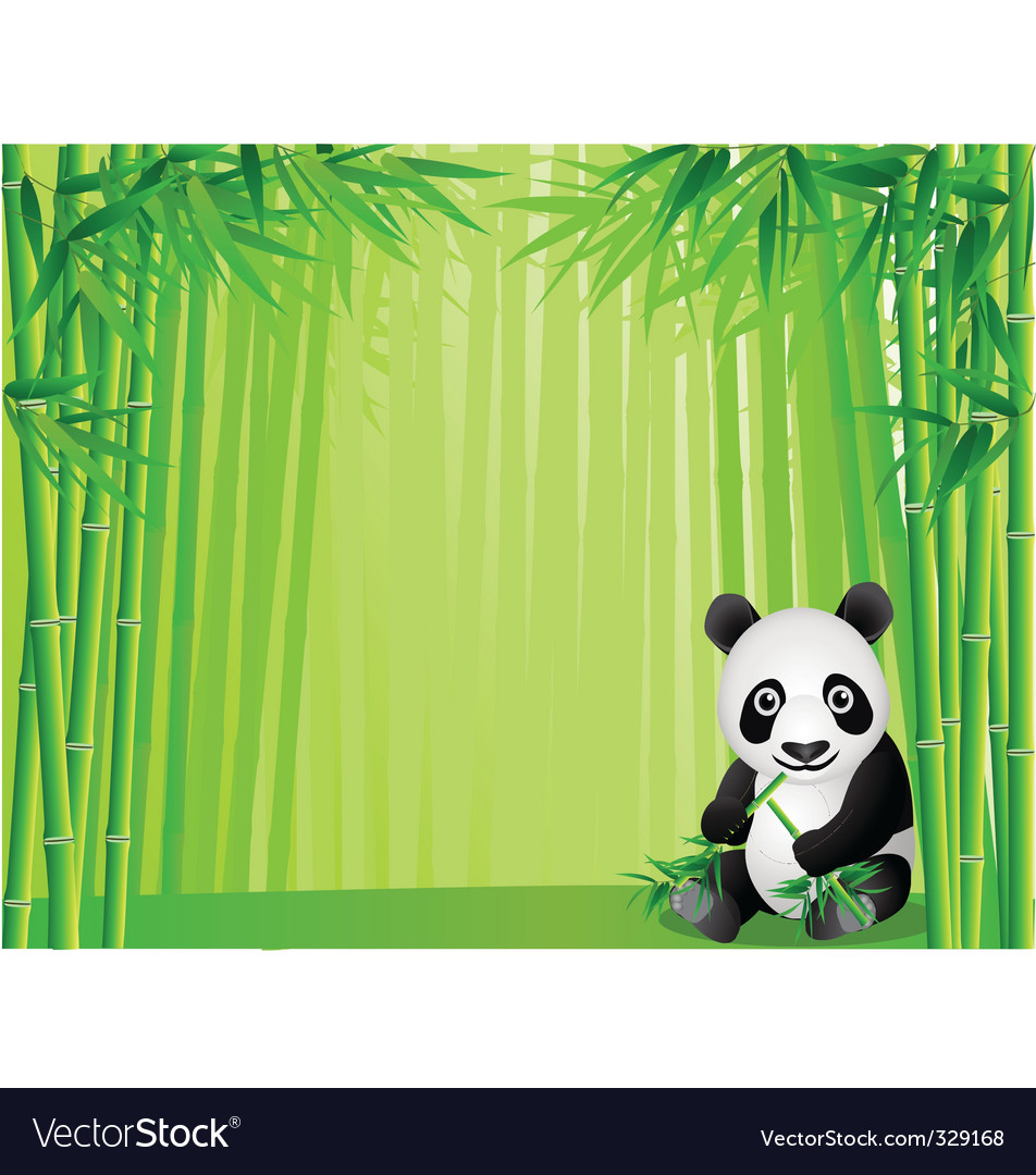 Panda in the bamboo forest vector | Price: 1 Credit (USD $1)