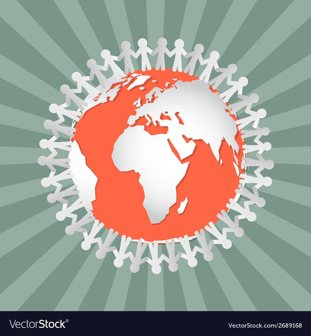 People holding hands around globe - vector | Price: 1 Credit (USD $1)