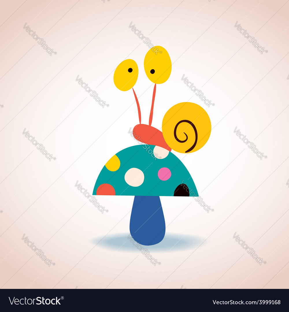 Snail on mushroom vector   Price: 1 Credit (USD $1)
