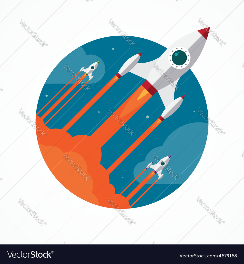 Startup concept with flying pencil rockets vector | Price: 1 Credit (USD $1)
