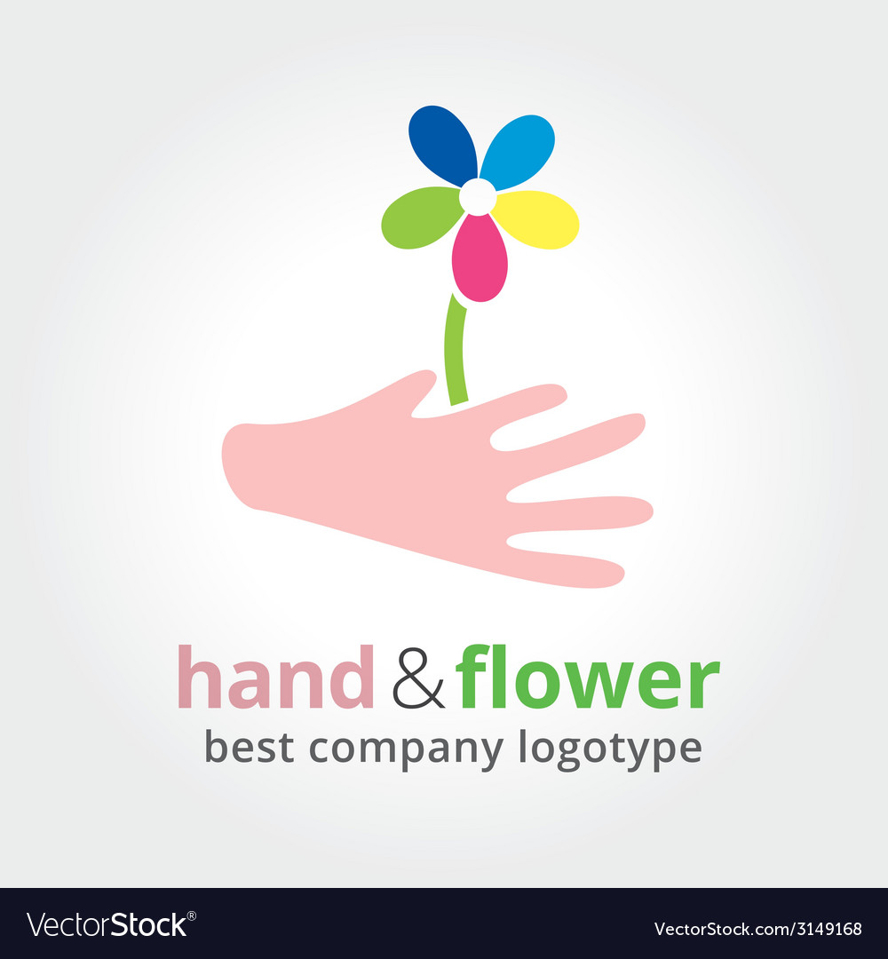 Two hands holding colored flowers nature logotype vector | Price: 1 Credit (USD $1)