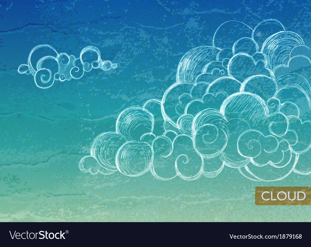 Vintage sky background with clouds vector | Price: 1 Credit (USD $1)