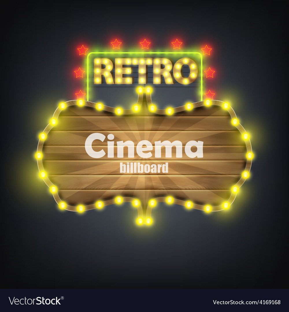 Wooden cinema retro billboard banner vector | Price: 3 Credit (USD $3)