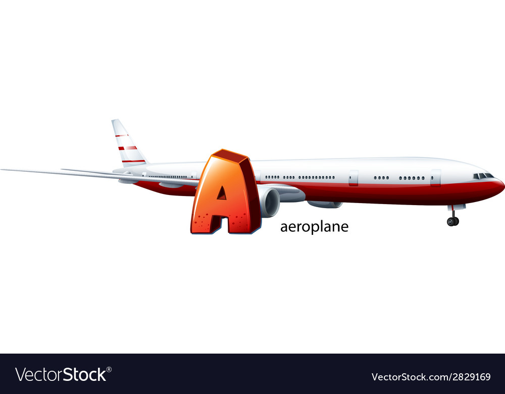 A letter a for aeroplane vector | Price: 1 Credit (USD $1)