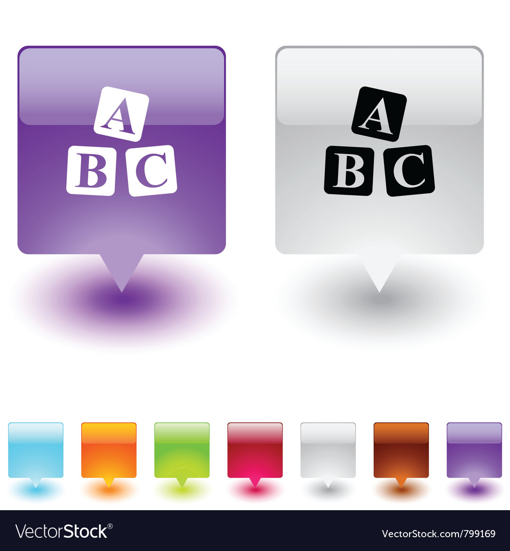 Abc cubes square button vector | Price: 1 Credit (USD $1)