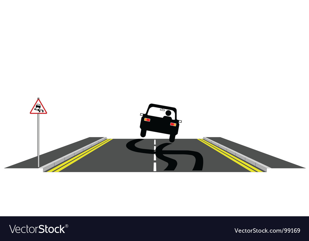 Car skidding on road vector | Price: 1 Credit (USD $1)