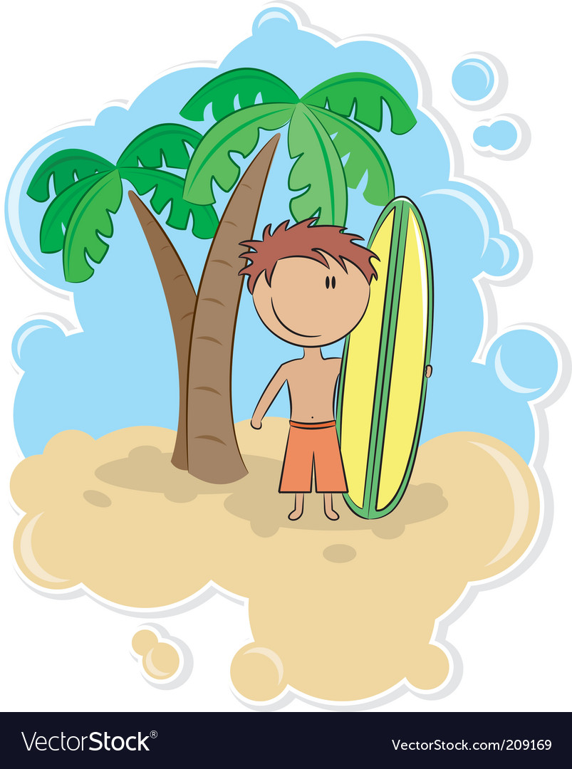 Cartoon surfer vector | Price: 3 Credit (USD $3)