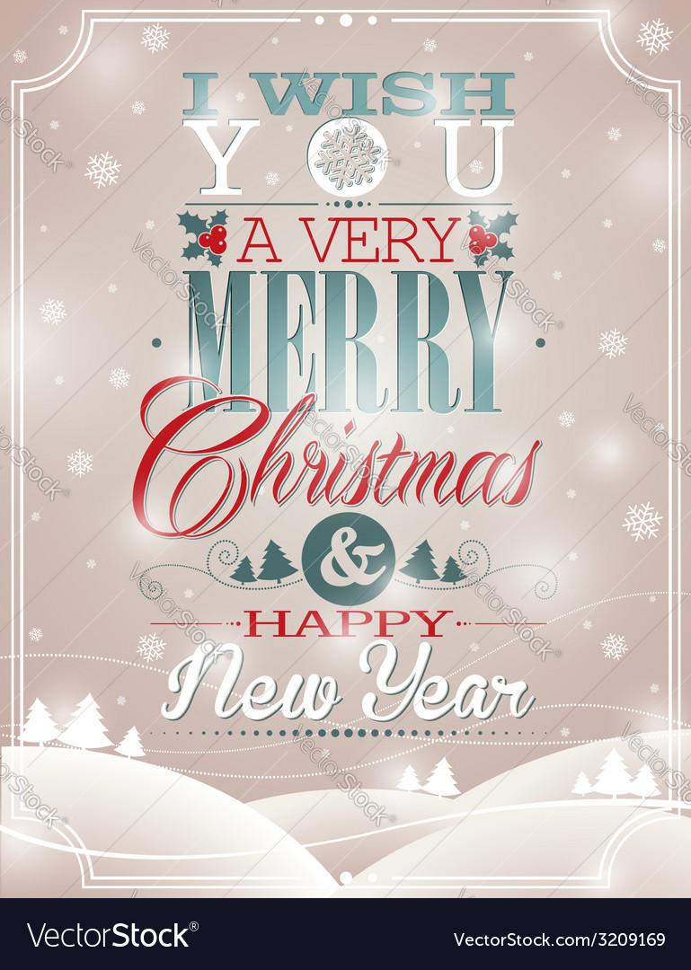 Christmas with typographic design vector | Price: 1 Credit (USD $1)