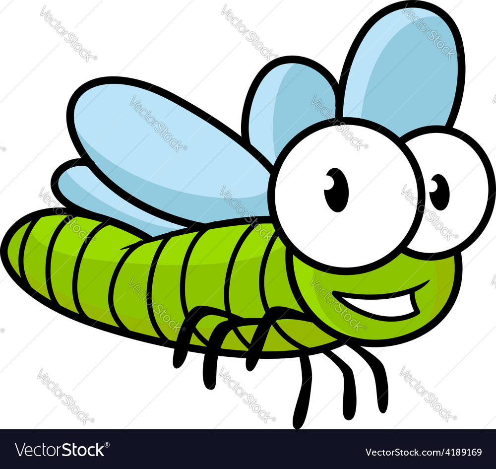 Cute little kids cartoon flying dragonfly vector | Price: 1 Credit (USD $1)