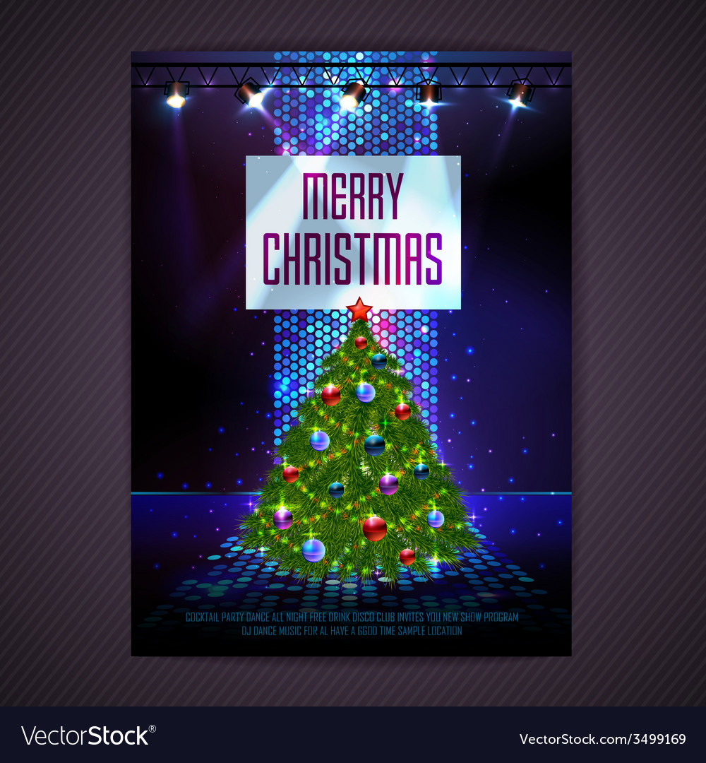 Disco background merry christmas poster vector | Price: 3 Credit (USD $3)