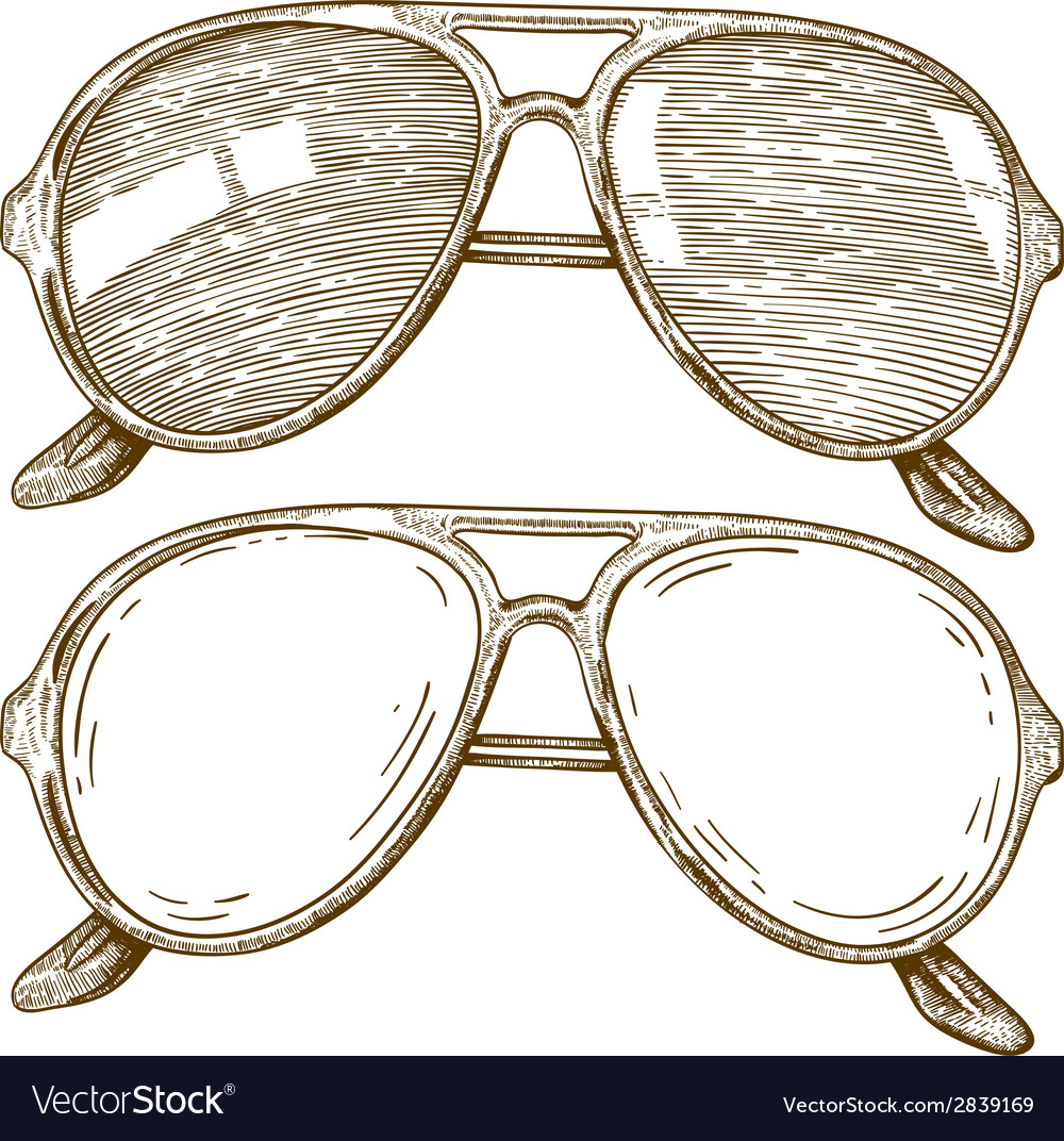 Engraving sunglasses vector | Price: 1 Credit (USD $1)