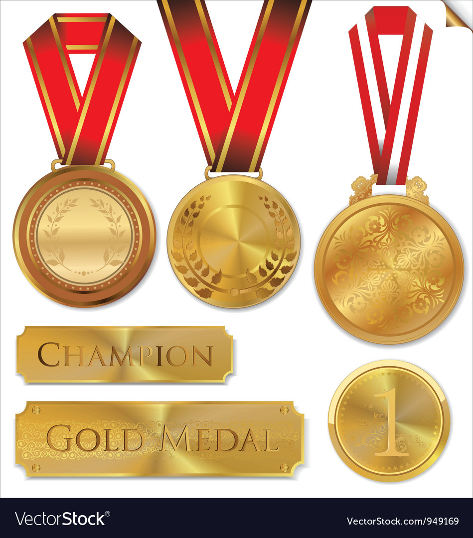 Gold medal set vector | Price: 1 Credit (USD $1)