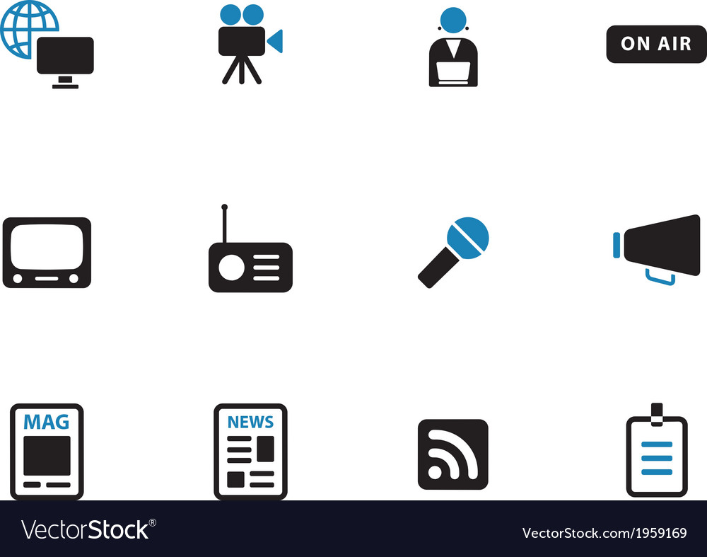 Media duotone icons on white background vector | Price: 1 Credit (USD $1)