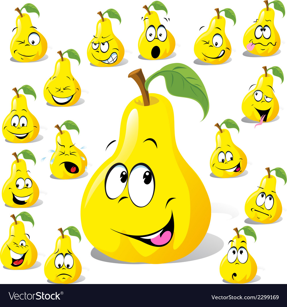 Pear cartoon with many expressions vector | Price: 1 Credit (USD $1)