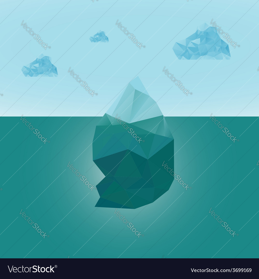 Polygonal iceberg glacier landscape with clouds vector | Price: 1 Credit (USD $1)