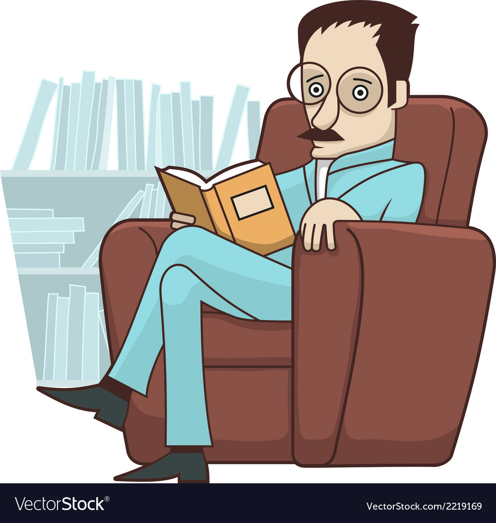 Reading book in armchair vector | Price: 1 Credit (USD $1)