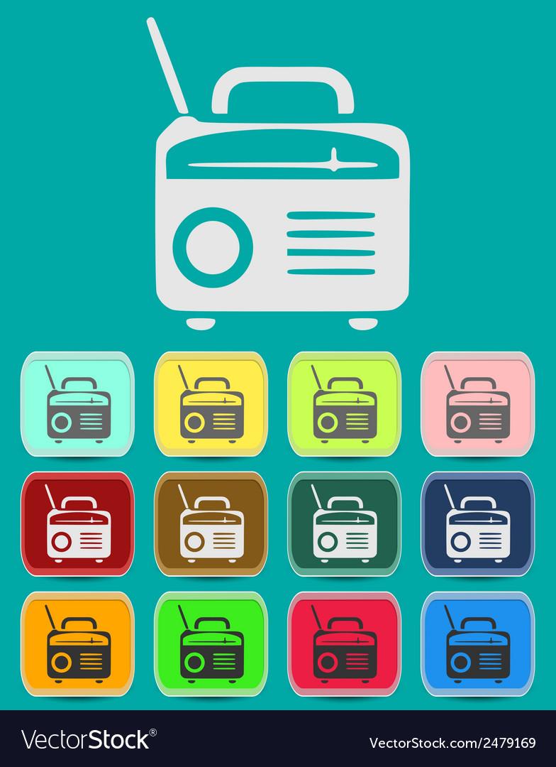 Retro radio icon vector | Price: 1 Credit (USD $1)