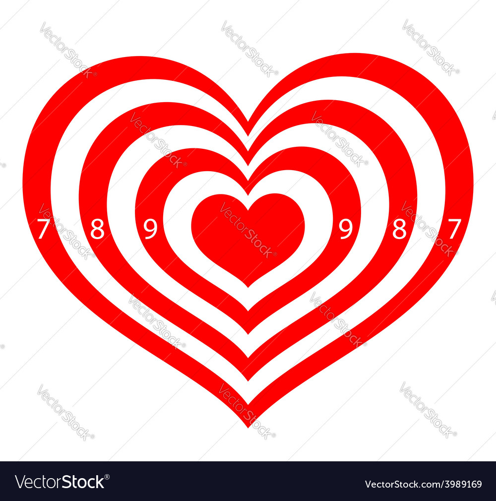 Target in the form of red hearts vector | Price: 1 Credit (USD $1)