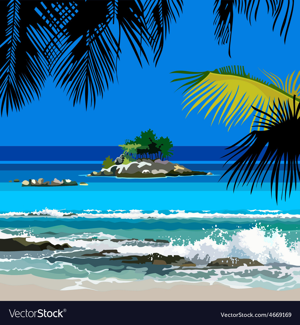 Tropical coast and the island in the ocean vector | Price: 3 Credit (USD $3)