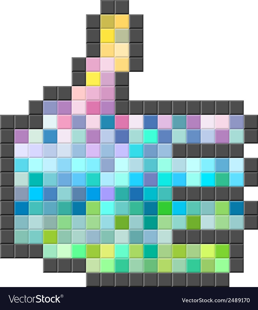 Abstract colorful pixelated thumb up vector | Price: 1 Credit (USD $1)