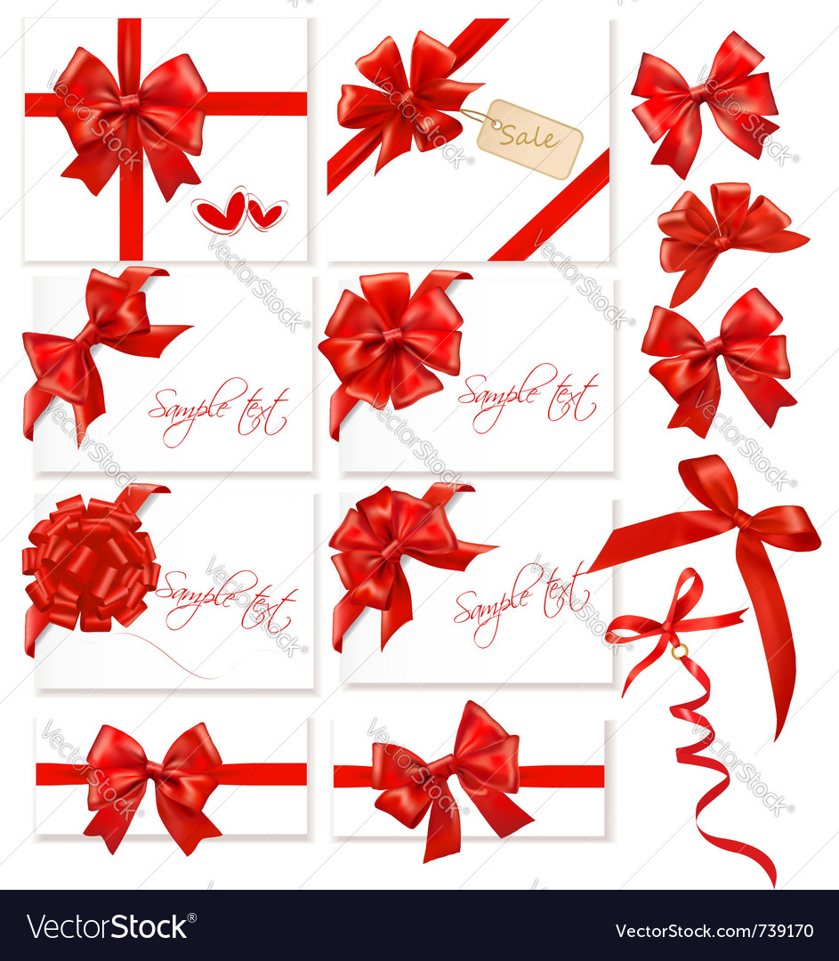 Collection of red bows with ribbons vector | Price: 3 Credit (USD $3)