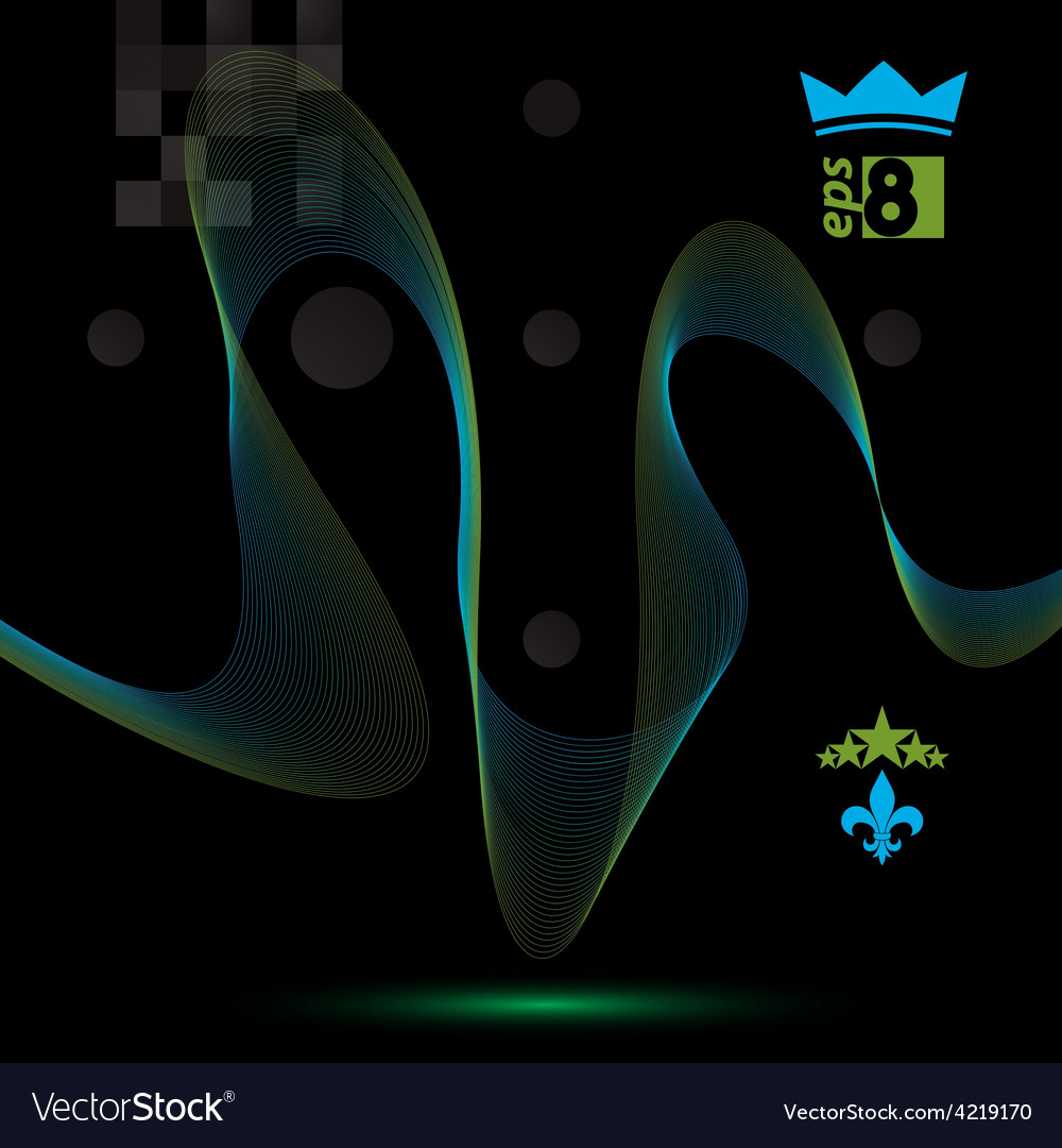Dimensional motif elegant flowing curves dark vector | Price: 1 Credit (USD $1)