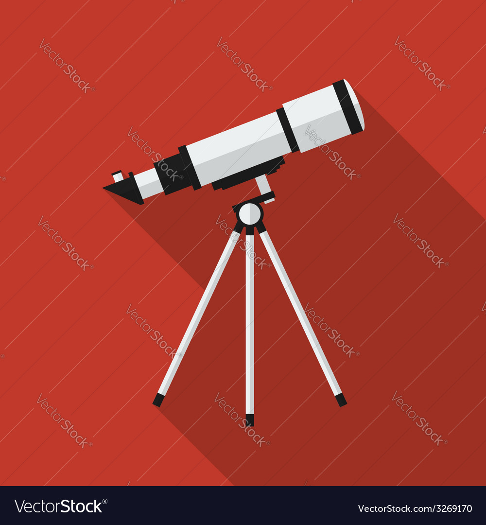 Flat telescope with long shadow icon vector | Price: 1 Credit (USD $1)