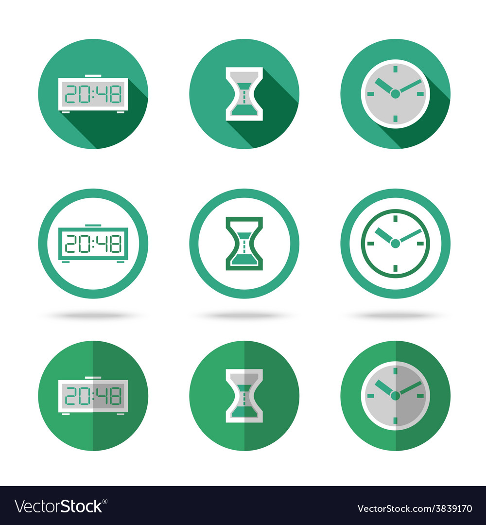 Flat time icons set different kinds of flat style vector | Price: 1 Credit (USD $1)
